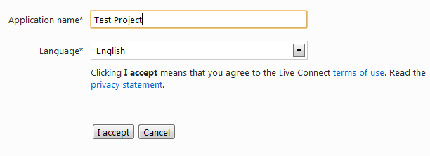 Windows Live Application Name